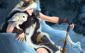 Picture winter, forest, girl, snow, owl, sword, bears, Art