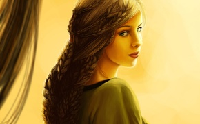 Picture Girl, Look, Drawing, Braided braid
