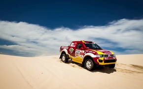 Picture The sky, Sand, Red, Clouds, Mitsubishi, SUV, Dune, 208