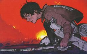 Picture fire, fire, blood, glow, emblem, the battle, swords, military uniform, Shingeki no Kyojin, Eren Yeager, …