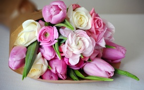 Picture pink, buttercups, peonies, tulips, bouquet