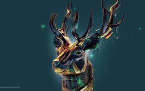 Picture metal, deer, desktopography