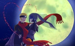 Picture night, the moon, naruto, art, Uzumaki Naruto, Naruto The Movie the Last, Hinata Hyugo, red …