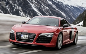 Picture road, snow, mountains, Audi, Prototype, car, e-Tron