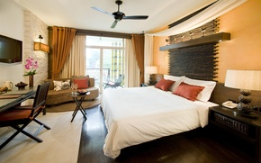 Picture table, sofa, bed, chair, room, TV, balcony, the hotel