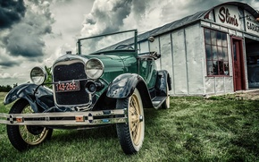 Picture the sky, retro, yard, ford