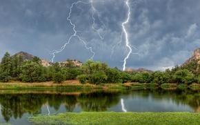 Picture forest, mountains, lake, lightning, AZ, Arizona, Granite Basin Lake