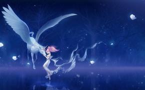 Picture girl, trees, night, magic, anime, art, unicorn, bishoujo senshi sailor moon, erian, pegasus, chibi usa