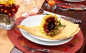 Wallpaper flowers, sunflower, candles, glasses, plates, knives, napkin, fork, Mat, serving, Cutlery