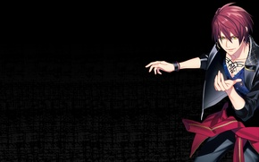 Picture anime, art, red, guy, dynamic chord