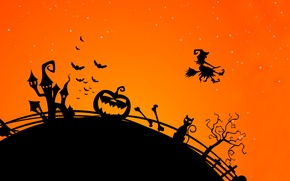 Picture scary city, creepy, creepy, midnight, witch ghost, evil cat, trees, scary city, Ghost witch, angry ...