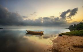 Picture beach, dawn, boat, Bay