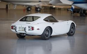 Picture white, hangar, white, sportcar, japan, 1967, 2000GT, TOYOTA