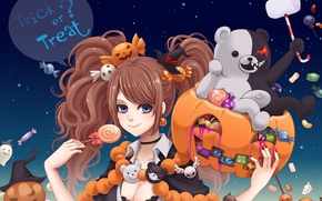 Picture girl, toy, art, candy, pumpkin, halloween, sweet, Ghost