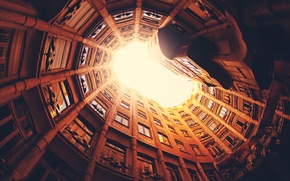 Picture windows, tunnel, Barcelona, Spain, spiral, architecture, building, construction, closed space