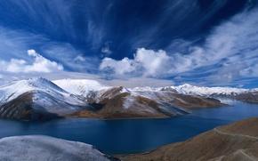 Wallpaper Mountains, River, Snow, Hills