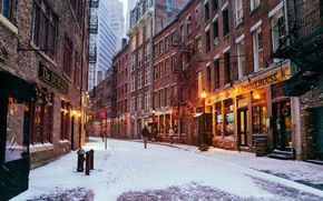 Picture winter, road, snow, the city, people, street, Windows, building, home, New York, USA, USA, Manhattan, ...