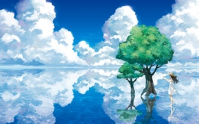 Wallpaper water, clouds, trees, landscape, lake, reflection, hat, art, girl, paper airplane