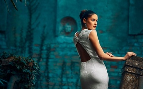 Picture ass, look, girl, white, dress, brunette