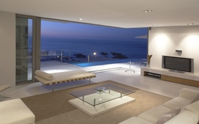 Wallpaper room, interior, table, apartment, penthouse, Wallpaper, Suite, sofas, wallpaper, TV, sea, penthouse, the ocean, balcony, ...