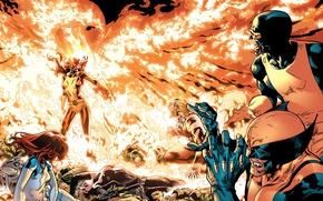 Wallpaper battle, Wolverine, X-Men, Marvel Comics, Cyclops, Dark Phoenix, Sabretooth, Mistique