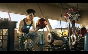 Picture Iron Man, suit, pearls, pixar style