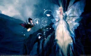 Wallpaper bubbles, girl, wings, butterfly