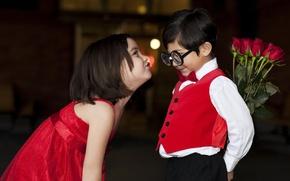 Picture love, children, childhood, retro, romance, glasses, girl, love, beautiful, Valentine's day, retro, beautiful, funny, Valentine's …