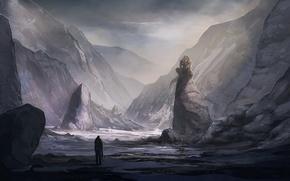 Picture desert, Mountains, valley, Shadowgrounds survivor, monster.