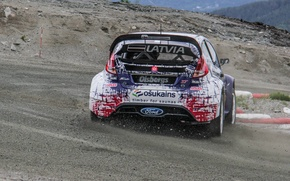 Picture turn, skid, ford, wrx, fiesta, the curb, worldrx, rally cross, reinis nitiss