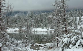 Picture lake, mountains, snow, winter, clouds, forest