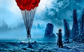 Wallpaper sea, clouds, snow, the city, balloons, ice, art, chair, mug, captain, ruins, romance of the ...