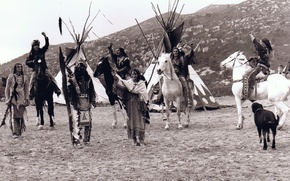 Picture black and white, the Indians, tepees, Tipi, Lakota
