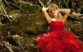 Picture forest, girl, Wallpaper, beauty, dress, Jackson Lee