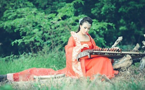 Picture girl, music, Asian, instrument