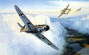 Picture ART, painting, aviation, WW2, bf 109, WAR