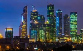 Picture night, Sunset, Moscow, Moscow-City, Federation, OKO, Tower 2000, Eurasia, Mercury City Tower, Naberezhnaya tower, Capital …