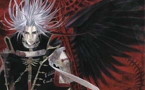 Picture elected, black wings, evil eye, disheveled hair, Trinity Blood, the black knight, black magic, Abel …