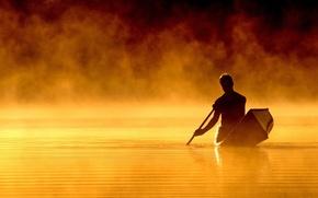 Wallpaper water, night, boat