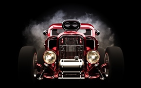 Picture red, wheels, hot rod, front view, headlights
