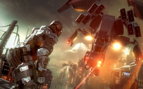 Picture war, soldiers, helicopter, drone, Killzone Shadow Fall