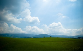 Picture the sky, grass, hills