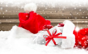 Picture New Year, Christmas, Christmas, hat, winter, snow, decoration, Santa, Merry
