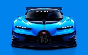 Picture concept, Bugatti, sport, Vision, blue, tuning, front, race, face, Gran Turismo
