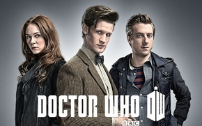 Picture look, girl, actress, actor, male, shirt, grey background, Doctor Who, Doctor Who, leather jacket, BBC, …