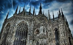 Picture Gothic, Duomo, hdr, Milano, architecture, Cathedral, Italia, the sky, clouds