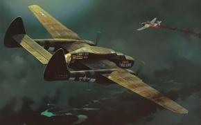 """Picture war, art, painting, ww2, Junker Ju 87 """"Stuka"""", Northrop P-61 Black Widow"""