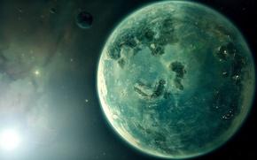 Picture the sun, planet, satellite