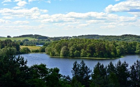 Picture forest, the sky, clouds, trees, nature, lake, photo, hills, Lithuania