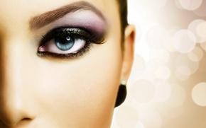 Picture girl, face, eyes, eyelashes, half, makeup, the pupil, shadows, eyebrow